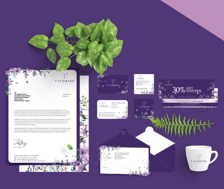 Thiết kế letterhead thương hiệu Flowers nổi bật hình ảnh thương hiệu