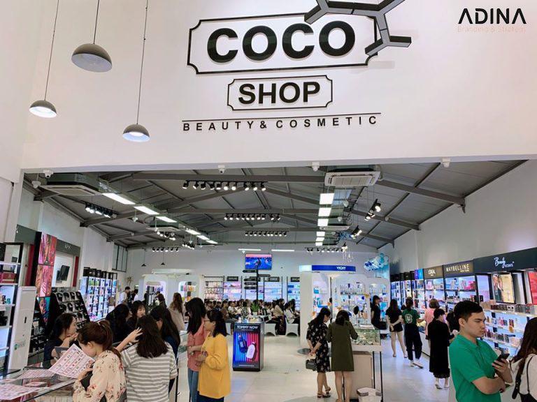 Nhận diện thương hiệu mỹ phẩm Cocoshop qua khối cửa hàng, showroom