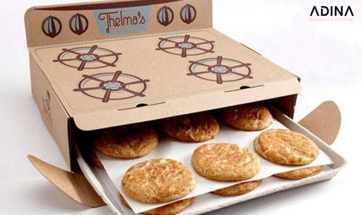 Bao bì dạng chiếc lò nướng của thương hiệu bánh Thelma's