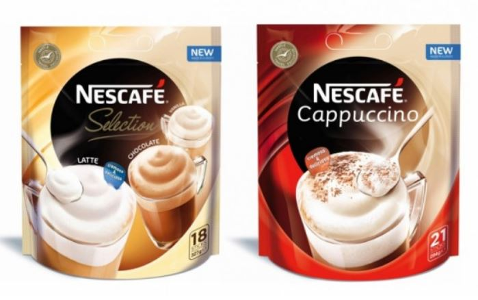 Bao bì Nescafe trong bộ nhận diện của thương hiệu