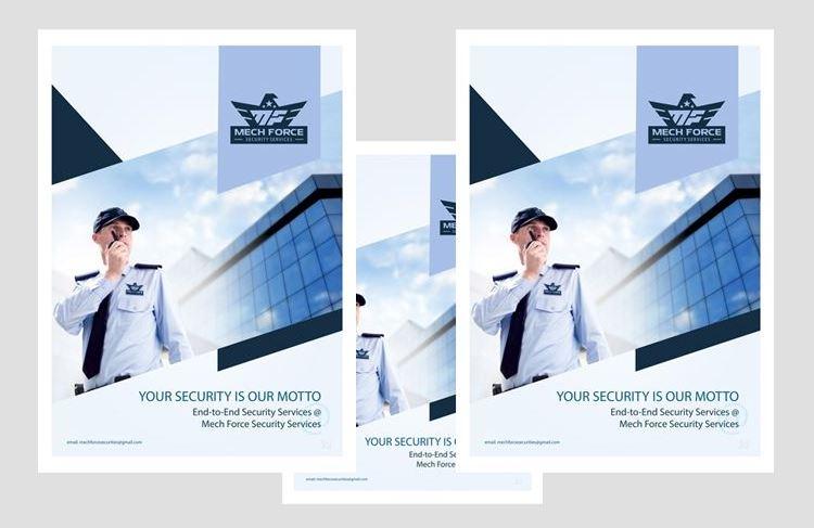 Mẫu thiết kế hồ sơ năng lực công ty bảo vệ Mech Force (Nguồn: Internet)