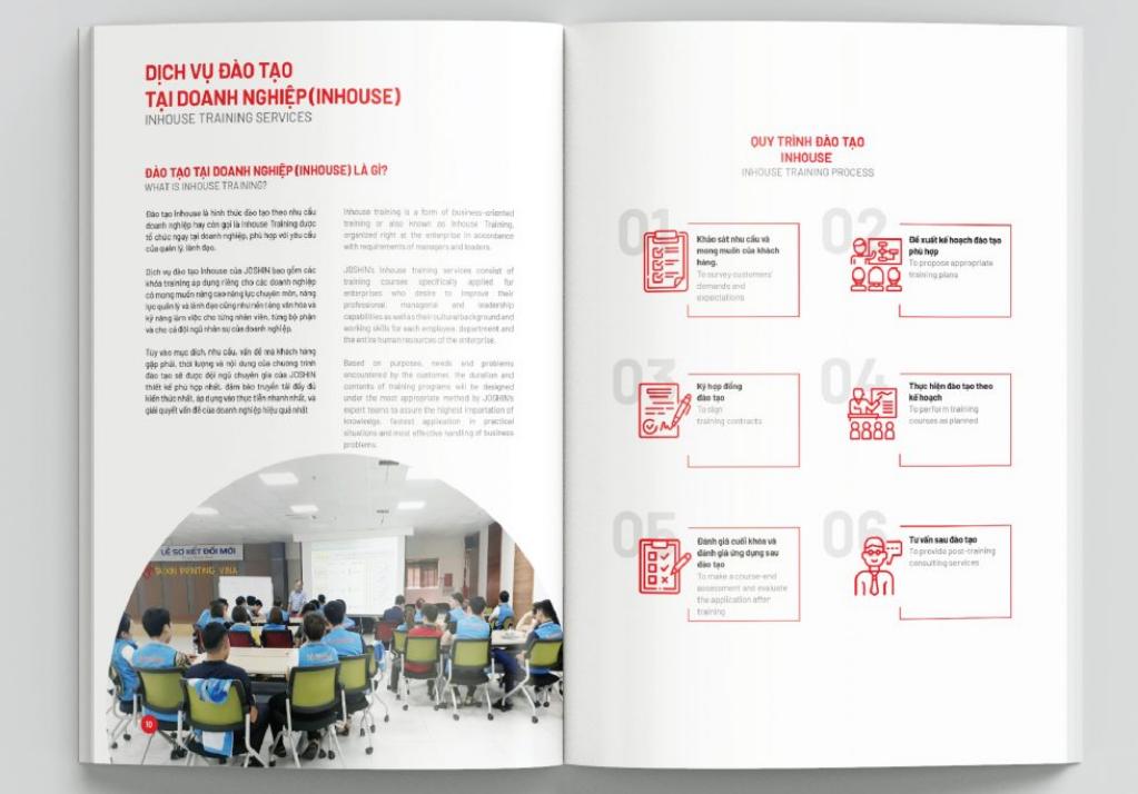 Mẫu thiết kế profile công ty tư vấn và đào tạo Joshin