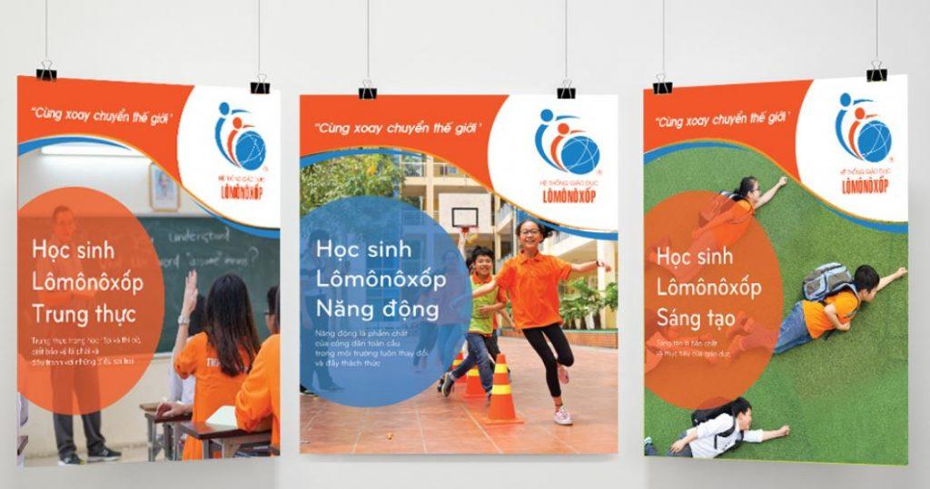 Thiết kế hệ thống biển bảng nhận diện thương hiệu trường Lomonoxop