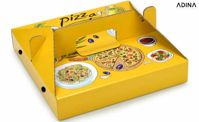 Hộp giấy đựng Pizza có tay cầm tiện lợi (Nguồn: Internet)