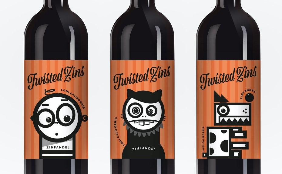 Mẫu bao bì bì rượu Twisted Zins vui nhộn với các nhân vật hoạt hình (Nguồn: Internet)