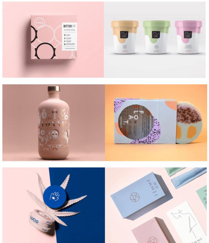Các mẫu bao bì sản phẩm dùng gam màu nhẹ nhàng (Nguồn: Internet)