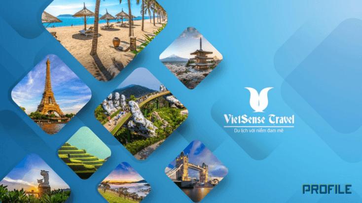 Mẫu thiết kế hồ sơ năng lực công ty du lịch VietSense Travel (Nguồn: Internet)