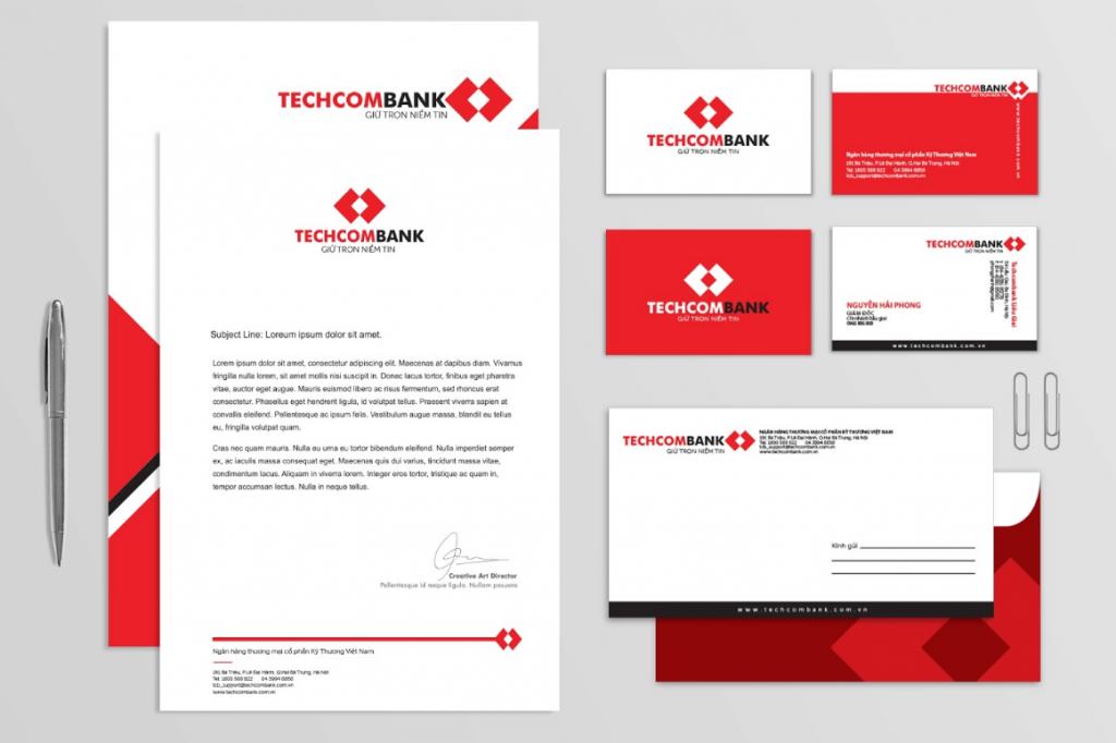 Các tài liệu trong bộ nhận diện văn phòng Techcombank (Nguồn: Sưu tầm)