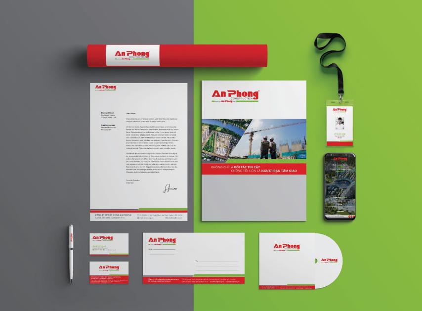 Bộ nhận diện văn phòng chuyên nghiệp của thương hiệu An Phong