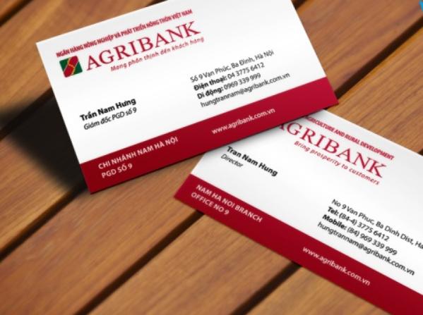 Danh thiếp ngân hàng Agribank (Nguồn: Sưu tầm)