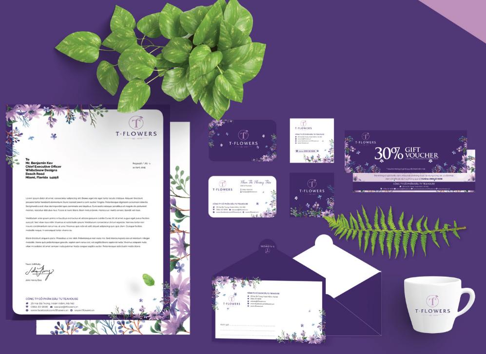 Mẫu bộ nhận diện thương hiệu văn phòng của công ty T-Flowers