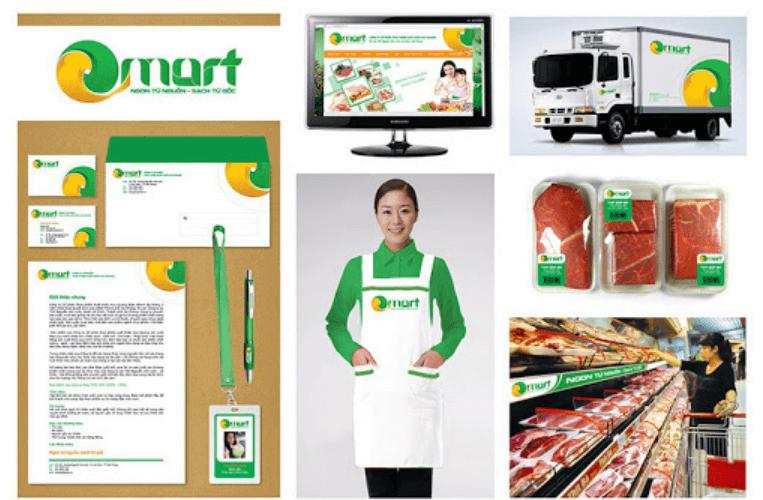 Mẫu bộ nhận diện thương hiệu Omart (Nguồn: Sưu tầm)
