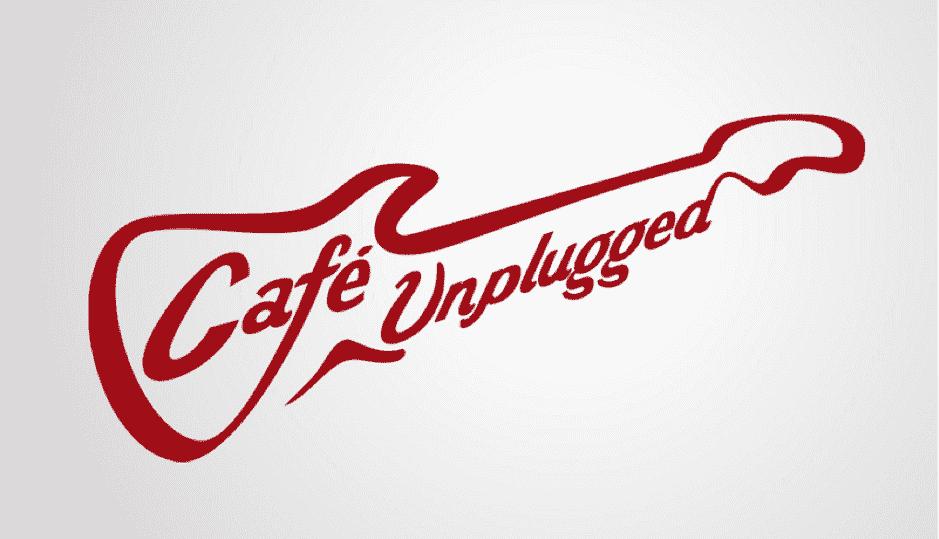 Logo cafe theo tên thương hiệu cách điệu thành hình cây đàn